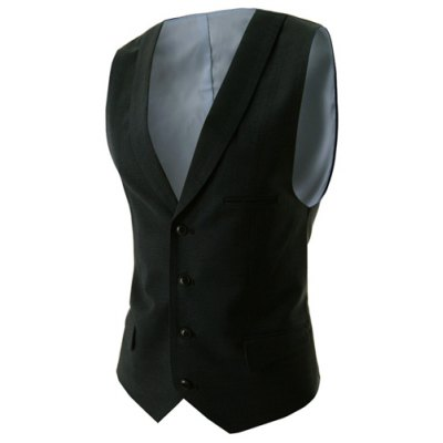 Fashion V-Neck Solid Color Single Breasted Slimming Sleeveless Cotton Blend Waistcoat For Men