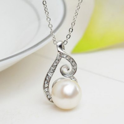 A Suit of Elegant Rhinestone Faux Pearl Necklace and Earrings For Women