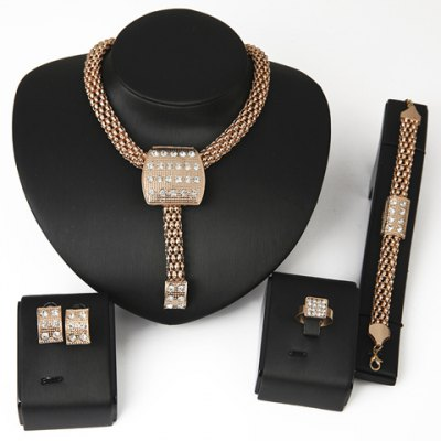 Trendy Rhinestone Inlaid Square Shape Women's Necklace Bracelet Ring and A Pair of Earrings