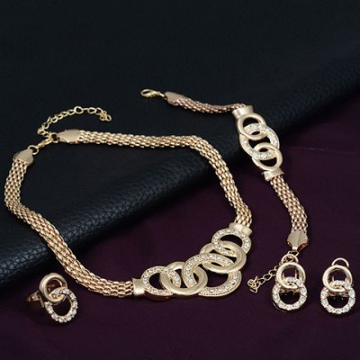 Chic Rhinestone Annulus Necklace Bracelet Ring and A Pair of Earrings For Women