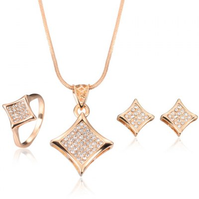 Stylish Rhinestone Rhombus Necklace Ring and A Pair of Earrings
