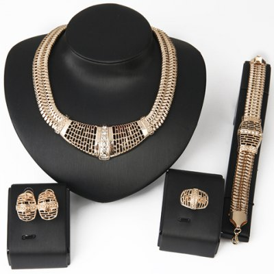 Stylish Trendy Hollow Out Jewelry Set(Necklace+Bracelet+Earrings+Ring)For Women