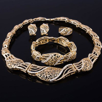 Elegant Stunning Rhinestone Inlaid Hollow Out Jewelry Set(Bracelet + Necklace + Earrings+Ring)For Women