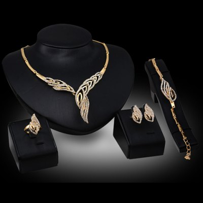Chic Rhinestone Hollow Out Leaf Necklace Bracelet Ring and A Pair of Earrings For Women