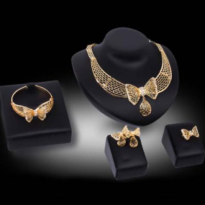 Charming Rhinestone Bow Necklace Bracelet Ring and A Pair of Earrings For Women