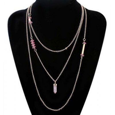 Фотография Delicate Faux Crystal Bullet Layered Necklace For Women