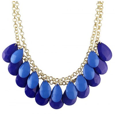 Trendy Stylish Faux Gemstone Decorated Multi-Layered Water Drop Shape Necklace For Women