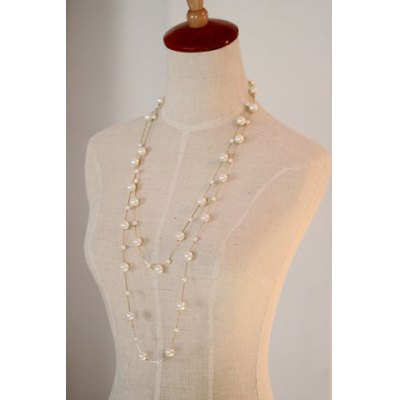 Graceful Faux Pearl Double-Layered Beaded Necklace