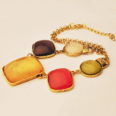 Classic Faux Gem Colored Necklace For Women