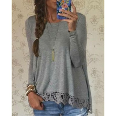Stylish Lace Spliced Hem Long Sleeve Gray T-Shirt For WomenWomens T-Shirts<br>Stylish Lace Spliced Hem Long Sleeve Gray T-Shirt For Women<br><br>Material: Polyester<br>Sleeve Length: Full<br>Collar: Jewel Neck<br>Style: Fashion<br>Embellishment: Lace<br>Pattern Type: Solid<br>Weight: 0.250KG<br>Package Contents: 1 x T-Shirt