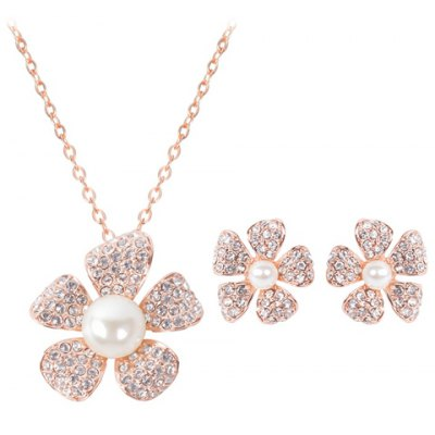 Fresh Style Rhinestoned Flower Necklace and A Pair of Earrings For Women
