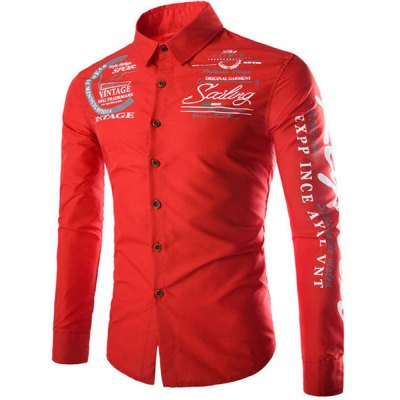 Stylish Slimming Shirt Collar Letter and Badge Print Long Sleeve Polyester Shirt For Men