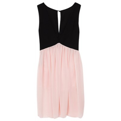 Sexy Plunging Neck Sleeveless Hollow Out Color Block Women's Dress