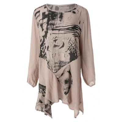 Abstract Print Loose-Fitting Stylish Scoop Collar Long Sleeve Women's T-Shirt
