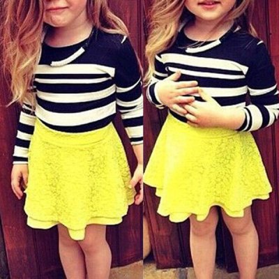 Cute Long Sleeve Round Neck Striped T-Shirt + Yellow Lace Skirt Girl's Twinset