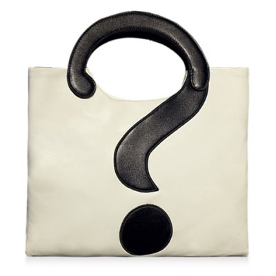 Stylish Question Mark and Color Block Design Women's Tote Bag