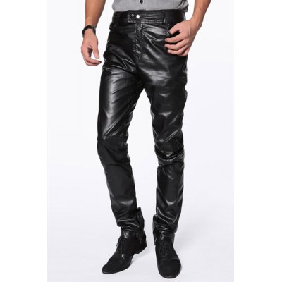 Slimming Stylish Solid Color Zipper Design Narrow Feet Men's PU Leather Pants