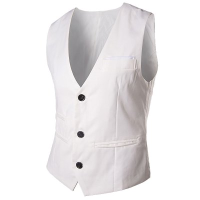 Modish V-Neck Solid Color Single Breasted Slimming Sleeveless Cotton Blend Waistcoat For Men