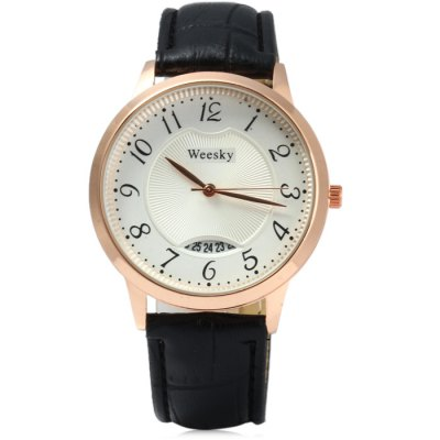 Weesky Golden Case Women Quartz Watch with Date Function Leather BandWomens Watches<br>Weesky Golden Case Women Quartz Watch with Date Function Leather Band<br><br>Brand: Weesky<br>Watches categories: Female table<br>Available color: Black,White,Red,Green<br>Style: Fashion&amp;Casual<br>Movement type: Quartz watch<br>Shape of the dial: Round<br>Display type: Analog<br>Case material: Stainless Steel<br>Band material: Leather<br>Clasp type: Pin buckle<br>Special features: Date<br>The dial thickness: 0.8 cm / 0.31 inches<br>The dial diameter: 4 cm / 1.57 inches<br>The band width: 2 cm / 0.79 inches<br>Wearable length: 17 - 20 cm / 6.69 - 7.87 inches<br>Product weight: 0.039 kg<br>Package weight: 0.089 kg<br>Product size (L x W x H): 24.00 x 4.00 x 0.80 cm / 9.45 x 1.57 x 0.31 inches<br>Package size (L x W x H): 25.00 x 5.00 x 1.80 cm / 9.84 x 1.97 x 0.71 inches<br>Package Contents: 1 x Weesky Watch