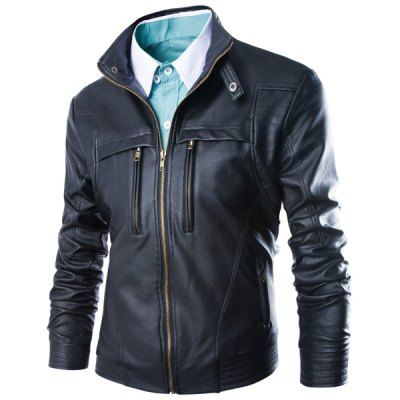Stand Collar Long Sleeve PU Leather Jacket