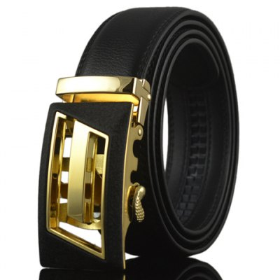 Chic High-Quality Double-Deck PU Leather Alloy Automatic Hollow Out Buckle Belt For Men