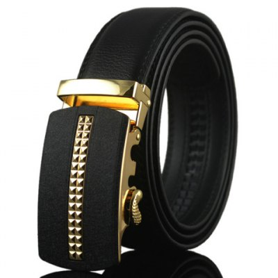 PU Leather Metal Geometric Pattern Automatic Buckle Belt For Men