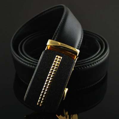 Fashionable PU Leather Metal Geometric Pattern Automatic Buckle Belt For Men