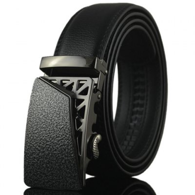 PU Leather Black Metal Hollow Out Automatic Buckle Belt For Men