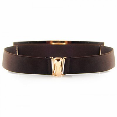 Chic Smooth Rectangle Alloy Embellished Elastic Waistband For Women
