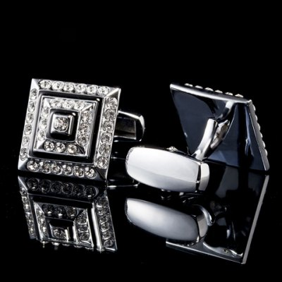 Pair of Classical Faux Diamond Metal Cuff Links For Men