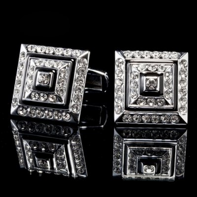 Classical Faux Diamond Metal Cuff Links For Men