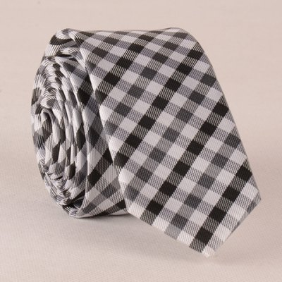 White and Black Tartan Pattern Tie For Men