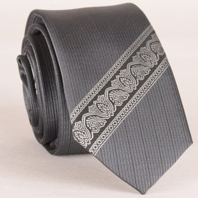 Ethnic and Twill Jacquard Gray Tie For Men