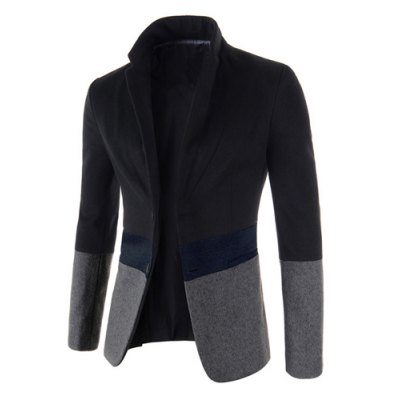 Trendy Lapel Multicolor Splicing Slimming Long Sleeve Cotton Blend Blazer For Men