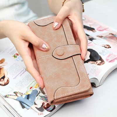 Fashion Suede and Solid Color Design Women's Wallet