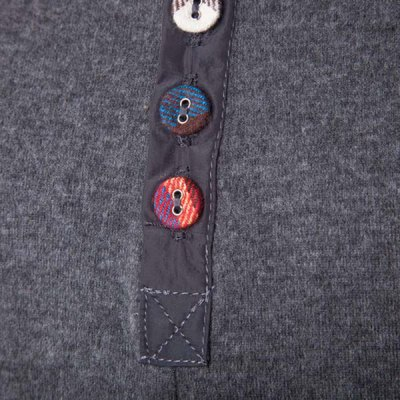 Fashion Slimming Round Neck Buttons Design Patched Splicing Long Sleeve Woolen Blend T-Shirt For Men