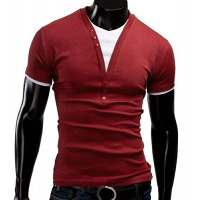 V Neck Short Sleeve Button T Shirt