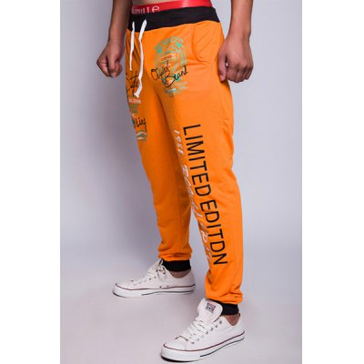 Loose Fit Trendy Drawstring Letters Print Color Block Rib Splicing Beam Feet Men's Polyester Sweatpants