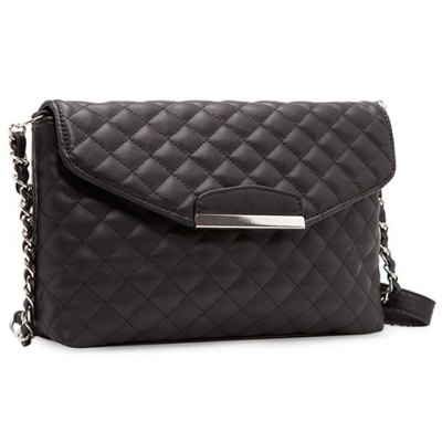 Graceful Checked and Metal Design Women's Crossbody Bag
