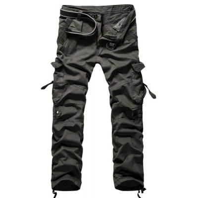 Solid Color Straight Leg Cargo Pants
