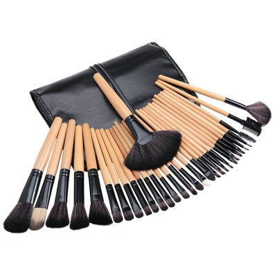 Cosmetic 32 Pcs Makeup Brush Set with Faux Leather Pure Color Bag