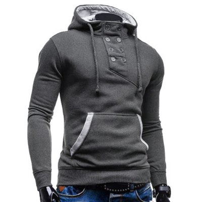Trendy Hooded Double Breasted Pocket Hemming Slimming Long Sleeve Cotton Blend Hoodie For MenMens Hoodies &amp; Sweatshirts<br>Trendy Hooded Double Breasted Pocket Hemming Slimming Long Sleeve Cotton Blend Hoodie For Men<br><br>Material: Cotton, Polyester<br>Package Contents: 1 x Hoodie<br>Shirt Length: Regular<br>Sleeve Length: Full<br>Style: Fashion<br>Weight: 0.469kg