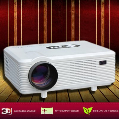 Excelvan CL720D LED Projector with Digital TV SlotProjectors<br>Excelvan CL720D LED Projector with Digital TV Slot<br><br>Brand: EXCELVAN<br>Model: CL720D<br>Material: Glass,Plastic<br>Display type: LCD<br>Native Resolution: 1280 x 800<br>Resolution Support: 1080P<br>Brightness: 3000 Lumens<br>Contrast Ratio: 2000:1<br>Throw Ration: 72inch - 2.08m, 84inch - 2.37m, 100inch - 3m, 120inch - 3.38m<br>Projection Distance: 1.2 - 3.6 m<br>Image Size: 60 - 100 inch<br>Image Scale: 16:9,4:3<br>Lamp Power: 150W<br>Lamp: LED<br>Interface: AV,TV<br>Bluetooth: Unsupport<br>Power Supply: 90-240V/50-60Hz<br>Other Features: Built-in Speaker (5W x 2)<br>Color: Black,White<br>Built-in Speaker: Yes<br>DVB-T Supported: No<br>External Subtitle Supported: No<br>Aspect ratio: 16:9 / 4:3<br>3D: Yes<br>Product weight: 3.300 kg<br>Package weight: 3.920 kg<br>Product size (L x W x H): 32.00 x 25.50 x 11.50 cm / 12.6 x 10.04 x 4.53 inches<br>Package size (L x W x H): 38.50 x 18.20 x 33.80 cm / 15.16 x 7.17 x 13.31 inches<br>Package Contents: 1 x Projector, 1 x Remote Controller, 1 x Adapter, 1 x AV Cable, 1 x VGA Cable, 1 x Fuse, 1 x Lens Cloth, 1 x User Manual in Chinese and English