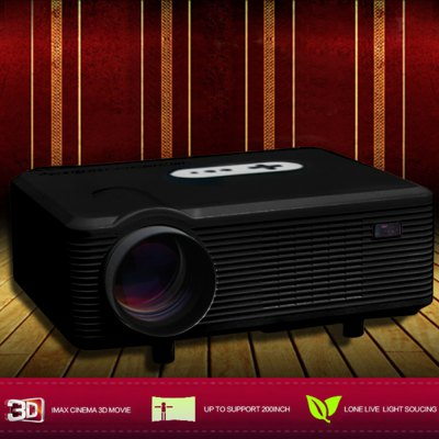 Excelvan CL720D LED Projector with Digital TV SlotProjectors<br>Excelvan CL720D LED Projector with Digital TV Slot<br><br>Brand: EXCELVAN<br>Model: CL720D<br>Material: Glass,Plastic<br>Display type: LCD<br>Native Resolution: 1280 x 800<br>Resolution Support: 1080P<br>Brightness: 3000 Lumens<br>Contrast Ratio: 2000:1<br>Throw Ration: 72inch - 2.08m, 84inch - 2.37m, 100inch - 3m, 120inch - 3.38m<br>Projection Distance: 1.2 - 3.6 m<br>Image Size: 60 - 100 inch<br>Image Scale: 16:9,4:3<br>Lamp Power: 150W<br>Lamp: LED<br>Interface: AV,TV<br>Bluetooth: Unsupport<br>Power Supply: 90-240V/50-60Hz<br>Other Features: Built-in Speaker (5W x 2)<br>Color: Black,White<br>Built-in Speaker: Yes<br>DVB-T Supported: No<br>External Subtitle Supported: No<br>Aspect ratio: 16:9 / 4:3<br>3D: Yes<br>Product weight: 3.3000 kg<br>Package weight: 3.9150 kg<br>Product size (L x W x H): 32.00 x 25.50 x 11.50 cm / 12.6 x 10.04 x 4.53 inches<br>Package size (L x W x H): 38.50 x 18.20 x 33.80 cm / 15.16 x 7.17 x 13.31 inches<br>Package Contents: 1 x Projector, 1 x Remote Controller, 1 x Adapter, 1 x AV Cable, 1 x VGA Cable, 1 x Fuse, 1 x Lens Cloth, 1 x User Manual in Chinese and English