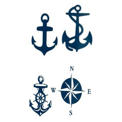 Chic Anchor and Compass Pattern Waterproof Tattoo Sticker For Women