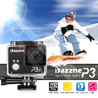 Dazzne P3 WiFi 1080P FHD Sports CameraAction Cameras<br>Dazzne P3 WiFi 1080P FHD Sports Camera<br><br>Audio System: Built-in microphone/speacker (AAC)<br>Battery Type: Removable<br>Brand: Dazzne<br>Charge way: USB charge by PC<br>Chipset: Ambarella A7LS<br>Chipset Name: Ambarella<br>Class Rating Requirements: Class 10 or Above<br>Decode Format: H.264<br>Delay Shutdown : Yes<br>Exposure Compensation: 2/3,-2,-2/3,-1,0,+1/3,-1/3<br>HDMI Output: Yes<br>Image Format : JPG<br>Image resolution: 8M (3200 x 2400), 5M (2592 x 1944), 3M (2048 x 1536), 16M (4608 x 3456), 12M (4000 x 3000)<br>Image Sensor: 16 Mega Pixels CMOS MN34120<br>Interface Type: Micro HDMI, TF Card Slot, Mini USB<br>Language: English,Simplified Chinese<br>Max External Card Supported: TF 64G (not included)<br>Model: P3<br>Package Contents: 1 x P3 Camera, 1 x Waterproof Case, 2 x Battery, 1 x Battery Charger, 2 x J-shape Mount, 1 x Three Way Adjustable Pivot Arm, 1 x HDMI Cable(150cm), 1 x USB Cable(100cm), 2 x Flat Adhesive Mount, 2 x C<br>Package size (L x W x H): 22.00 x 16.00 x 9.00 cm / 8.66 x 6.3 x 3.54 inches<br>Package weight: 0.7170 kg<br>Product size (L x W x H): 6.00 x 4.50 x 3.00 cm / 2.36 x 1.77 x 1.18 inches<br>Product weight: 0.0730 kg<br>Screen resolution: 960 x 240<br>Screen size: 2.0inch<br>Screen type: TFT<br>Time Stamp: Yes<br>Type: Sports Camera<br>Video format: MOV<br>Video Frame Rate: 120fps,30FPS,60FPS<br>Video Output : HDMI,AV-Out<br>Video Resolution: 1280 x 960,1080P (1920 x 1080),720P (1280 x 720),848 x 480<br>Video System: PAL,NTSC<br>Waterproof: Yes<br>WIFI: Yes<br>WiFi Distance : 10m<br>Working Time: 1 hours 1080 60fps