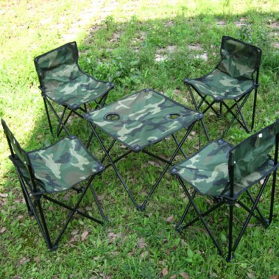 AOTU 5 in 1 Outdoor Folding Table and Chair Set