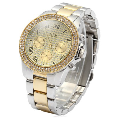 GND Decorative Sub-dials Diamond Quartz Watch Stainless Steel Body for Men