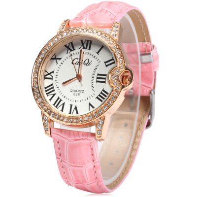 CaiQi 538 Female Diamond Quartz Watch with Leather Band