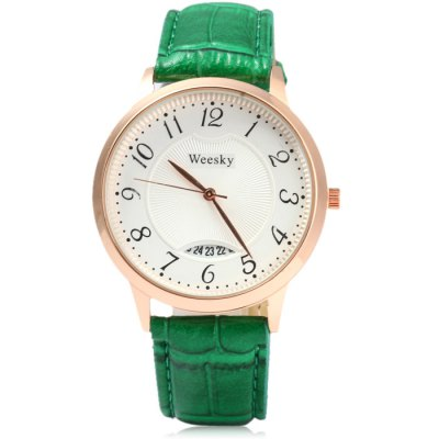 Weesky Golden Case Women Quartz Watch with Date Function Leather BandWomens Watches<br>Weesky Golden Case Women Quartz Watch with Date Function Leather Band<br><br>Available Color: Black,Green,Red,White<br>Band material: Leather<br>Brand: Weesky<br>Case material: Stainless Steel<br>Clasp type: Pin buckle<br>Display type: Analog<br>Movement type: Quartz watch<br>Package Contents: 1 x Weesky Watch<br>Package size (L x W x H): 25.00 x 5.00 x 1.80 cm / 9.84 x 1.97 x 0.71 inches<br>Package weight: 0.0890 kg<br>Product size (L x W x H): 24.00 x 4.00 x 0.80 cm / 9.45 x 1.57 x 0.31 inches<br>Product weight: 0.0390 kg<br>Shape of the dial: Round<br>Special features: Date<br>Style: Fashion&amp;Casual<br>The band width: 2 cm / 0.79 inches<br>The dial diameter: 4 cm / 1.57 inches<br>The dial thickness: 0.8 cm / 0.31 inches<br>Watches categories: Female table<br>Wearable length: 17 - 20 cm / 6.69 - 7.87 inches